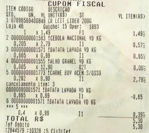NF R$ 5,00 Ingredientes